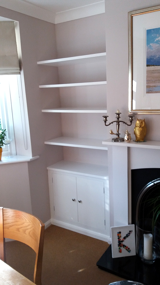 White alcove cupboard made by carpenter, F A Ingram, Chelmsford, Brentwood and Billericay
