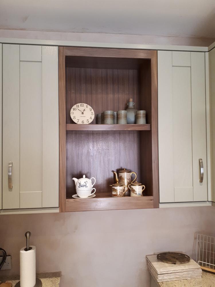 Carpenter in Chelmsford, Essex. Bespoke kitchen cupboard in Walnut.